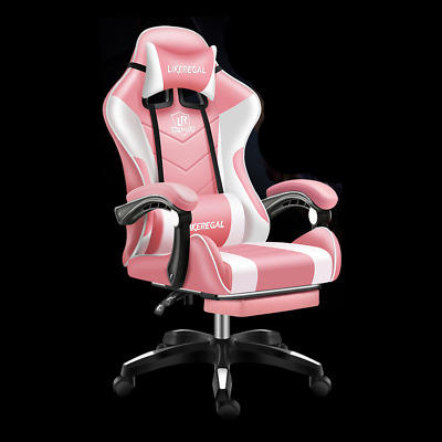 AU147.25 • Buy Pink Professional Ergonomic PU Leather Gaming Chair W/Footrest