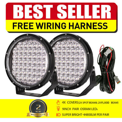 AU128.95 • Buy NEW LED Spot Driving Lights 9inch Spotlights Pair Black Round Offroad Truck 4x4