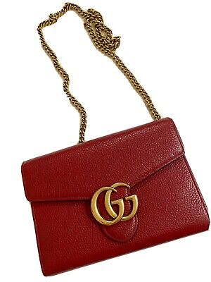 AU1170 • Buy Authentic Gucci Marmont Red/Gold Chain Bag Rare Sold Out.