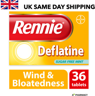 Rennie Deflatine Tablets - 36 | Effective Relief From Trapped Wind & Bloatedness • 7.70£