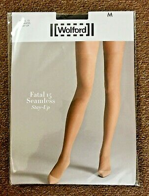 Wolford Fatal 15 Seamless Stay Up Stockings Black Medium • 24.95£
