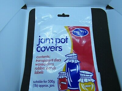 JAM POT COVERS For 25 X 500g  ( 1lb)   Jars - With Rubber Bands And Labels • 1.99£
