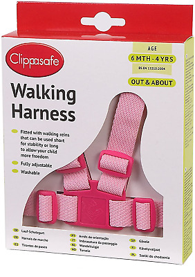 Clippasafe Baby Walking Harness Reins Toddler Safety Adjustable Travel Lead Pink • 7.56£