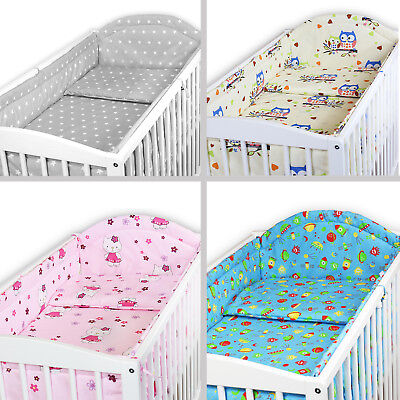 £37.99 • Buy BABY BEDDING SET ALLROUND BUMPER COTBED 140x70 100 % COTTON COVER SET 2 3 5 6 PC