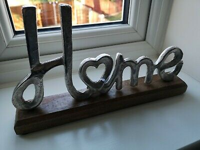 Home Sign On Wooden Block OrnamentFreestanding Silver Metal New Home Present • 14.99£