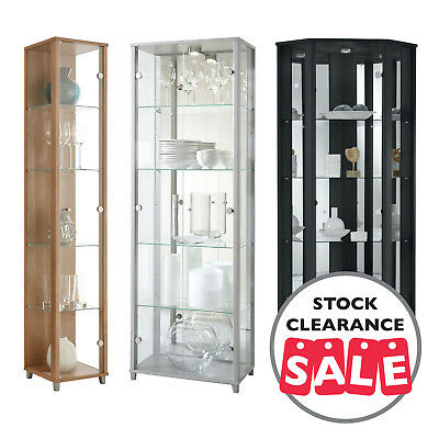 Ex Display HOME Glass Display Cabinet Single Double Corner Black Silver Oak A • 79£