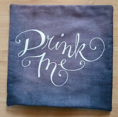 £6.50 • Buy Alice In Wonderland Quote Drink Me Grey Cushion Cover 16  X 16