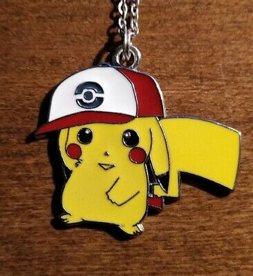 Pikachu In Pokémon Hat Pendant Necklace 20  - Gaming Gift Idea Video Game • 3.45£