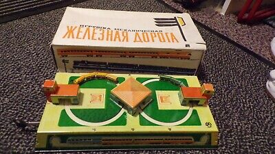 Vintage Russian Clockwork Tin Toy Train Set Made In CCCP (USSR) Working & Boxed • 74.99£