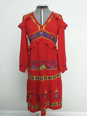 ASOS Red Midi Dress Size 12 Aztec Pattern Long Sleeve - Good Condition  • 12£