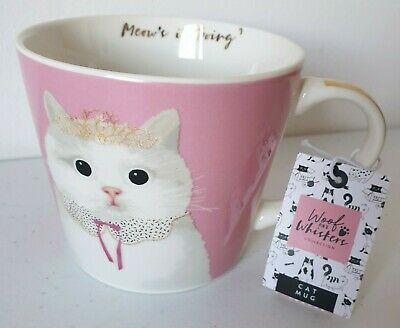 Woof & Whiskers Collection Pink Princess Novelty Ceramic Cat Mug New Free P&p • 9.95£