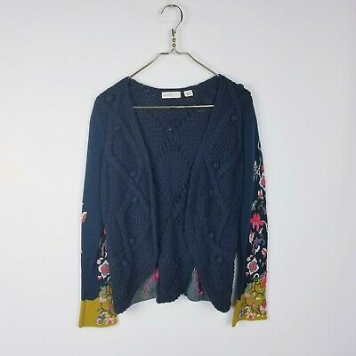 $ CDN63.67 • Buy Anthropologie Sleeping On Snow Stitched Flora Cardigan Sweater Small S Navy