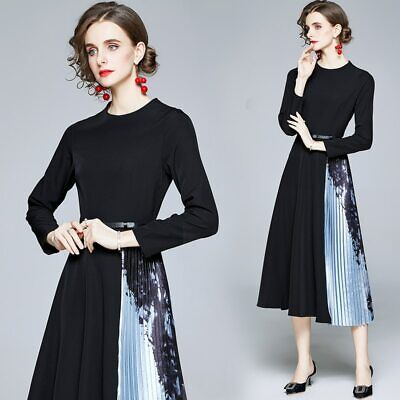AU62.99 • Buy Women Print Slim Midi Pleated Dress Office Long Sleeve Party Clothing With Belt