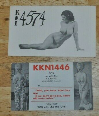$ CDN25.36 • Buy Two Risque QSL CB Ham Radio ID Cards Sexy Ladies Great Condition Vintage 1960s