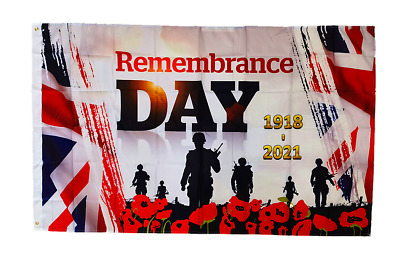 Limited Sales 1918-2020 WW Remembrance Day 5x3ft Flag Union Jack Lest We Forget