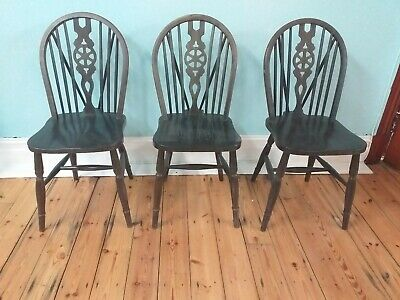 3x Beautiful Vintage Wooden Dinning Chairs, Ornate, Natural Brown, Antique Style • 14.99£
