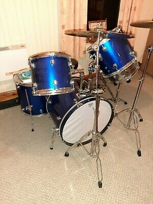 8 Piece Drum Kit With Stool And Accessories, Blue, Used. Local Pick Up Only • 100£