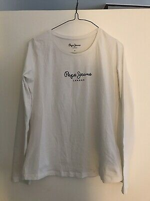 Pepe Jeans Cotton White Long Sleeve Top Size S • 3.60£