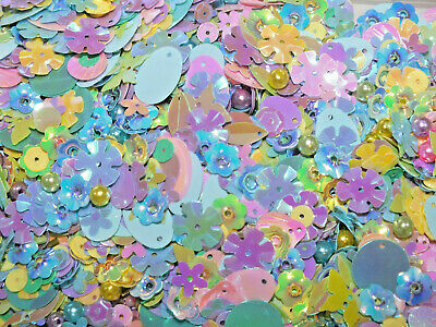 Tropical Mermaid Mix 50g Mixed Sew Glue On Sequins Beads Shells Star Hearts DIY • 3.99£