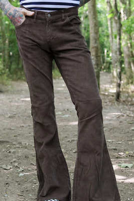 £35 • Buy Run & Fly Bellbottom  Corduroy Flared Brown Cords Retro Vintage 60's 70's Style