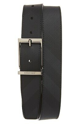 Burberry Reversible London Check And Leather Belt 36 /90 Dark Charcoal/Black • 199.41£