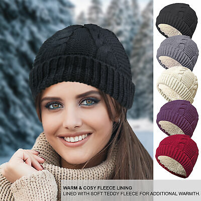 £4.99 • Buy Ladies Womens Chunky Winter Fur Fleece Lined Cable Knit Beanie Hat Crochet Wooly