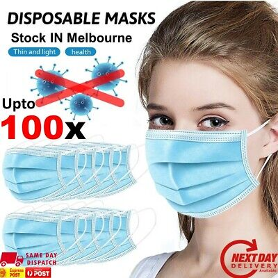 AU9.38 • Buy Disposable Face Masks Anti Pollution Mouth Cap 3-Layer Filter Surgical UPTO 100x