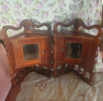 AU272.02 • Buy Antique Arts & Crafts Mahogany Corner Cupboards TWIN Cabinets RARE