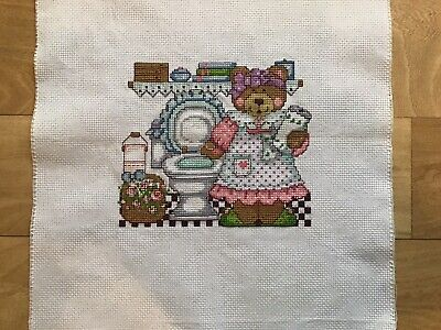 Completely Finished Cross Stitch Bear • 4.75£
