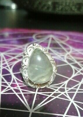 925 Sterling Silver Coated Ladies Large Ring Prehnite  Cabochon Size M • 6.99£