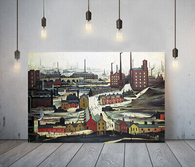 Lowry Style Industrial Landscape -framed Canvas Art Picture Paper Print- Red  • 27.99£
