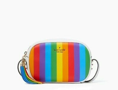 $ CDN150 • Buy NWT Kate Spade Kourtney Rainbow Stripe Camera Crossbody Purse Rainbow LGTBQ