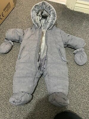 Baby Snowsuit Grey 0-3 Months Pramsuit All In One • 2£