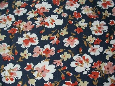 Black Viyella Like Floral Fabric Remnant 89cm X 103cm Red, Pink & White Flowers  • 5.99£