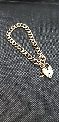 AU650 • Buy 9ct Yellow Gold Heart Padlock Bracelet