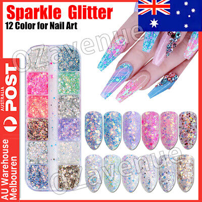 AU5.49 • Buy New 12 Color Holographic Nail Sequins Glitter Flakes Sparkle Confetti Art Decal