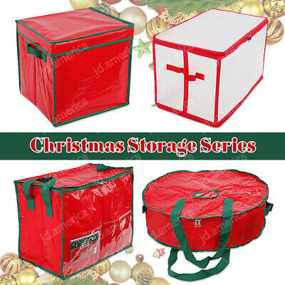 Christmas Wreath Storage Bag Box Container Holiday Bauble Xmas Tree Decorations • 7.99£