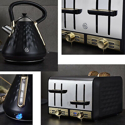 Swan Gatsby Black/Gold Pyramid Kettle / 4 Slice Toaster - Buy Set Or Separately • 55.95£