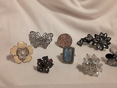 $ CDN40.60 • Buy Jewelry Lot 8 Rings Vintage / Costume Cocktail ALL Size 8 To 8 1/2 Double Finger