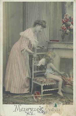 £3.50 • Buy Surrealism Fantasy Postcard Lady With Little Angel Girl Next To Fireplace