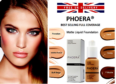 PHOERA® Foundation Concealer Full Coverage Makeup Matte Brighten Long Lasting UK • 5.99£