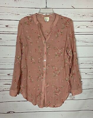 $ CDN31.84 • Buy Fig & Flower Anthropologie Women's L Large Pink Floral Button Spring Top Blouse