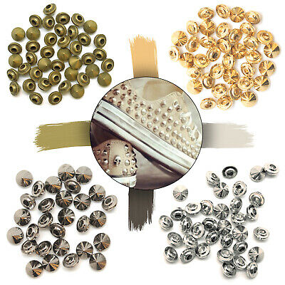 £5.39 • Buy Brass Spike Cone Studs Punk Rivets With Pins For DIY Crafts Clothes Shoes 100pcs