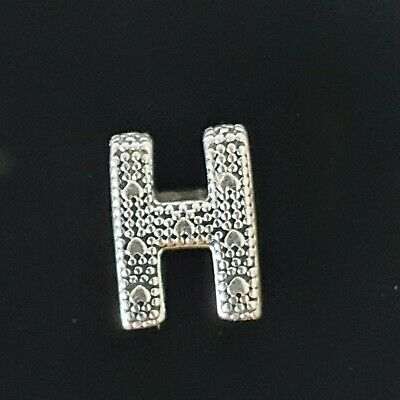 AU34 • Buy Pandora Letter H Silver Alphabet Charm 797462 Riased Hearts Beads Free Postage