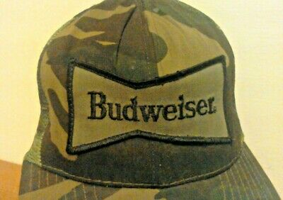$ CDN12.62 • Buy Vintage BUDWEISER Patch Snapback Camo Camouflage Trucker Hat Cap MADE IN USA