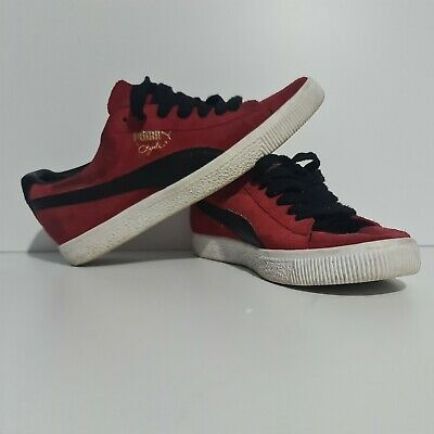 Puma Clyde Suede Red & Black Uk Size Mens 7.5 • 29.99£