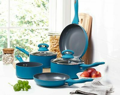 5 Piece Induction Hob Ceramic Aluminium Saucepan Set Non Stick Frying Pan Blue • 64.95£
