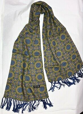Men's Vintage Paisley Scarf With Fringe Tassel By Tootal.  Green And Denim Blue • 24£