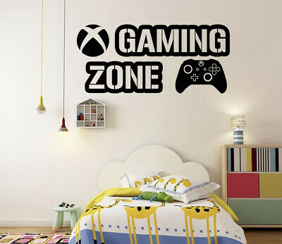 £6.95 • Buy Gaming Zone Wall Stickers Xbox One Controller Gamer Vinyl Decal Kids Bedroom GB5