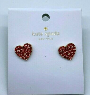 $ CDN12.12 • Buy Kate Spade Red Pave Heart Pearl Back Earrings